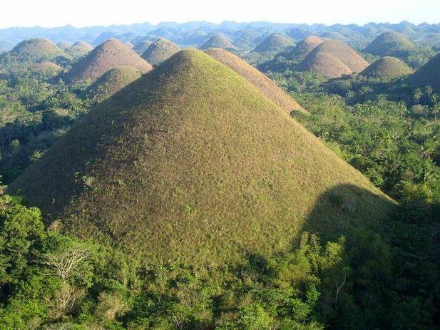 """Les Chocolate Hills désignent une formation géologique hors du commun située sur l'île de Bohol aux Philippines.     Cette formation est composée de 1 268 collines en forme de cône de taille similaires, réparties sur plus de 50 kilomètres carrés. Leurs hauteurs varient de 30 mètres à 50 mètres.     Leur nom, """"les collines de chocolat"""" est du à la végétation, qui devient brune à la saison sèche."""