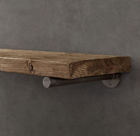 Rustic shelves - restoration hardware. For the kitchen? Make a similar bracket from plumbing pipe and brackets, distress wood for the same effect?