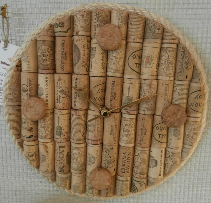 Clock made from upcycled wine corks