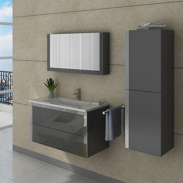 Dis025 900gt meuble salle de bain gris taupe simple for Salle de bain taupe et gris