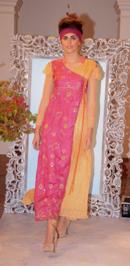 Sunset pink Tussar and beige crinkled silk long kurta-dress (INR 13,900)
