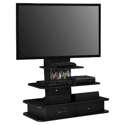 Galaxy 70 TV Stand with Mount and Drawers - Black - Ameriwood Home