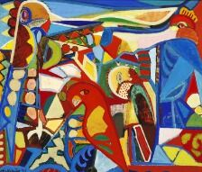 869/915 - Tage Mellerup: Figure composition. Signed Mellerup 41. Oil on canvas. 100 x 115 cm.