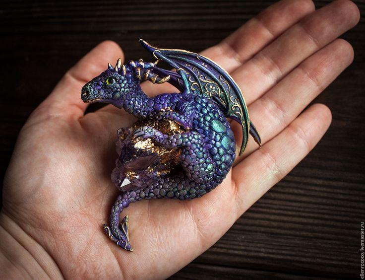 """Купить Подвеска """"Аметистовый дракон"""" - фиолетовый, дракон, аметист, змей, полимерная глина, колдовство, магия"""