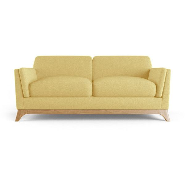 woodson mid century modern yellow loveseat liked on polyvore featuring home