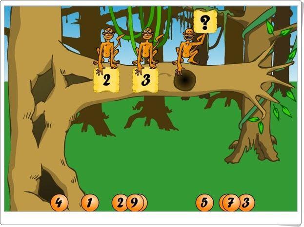 Los monos y los números de cyberkidz.nl (Orden númérico del 1 al 10)
