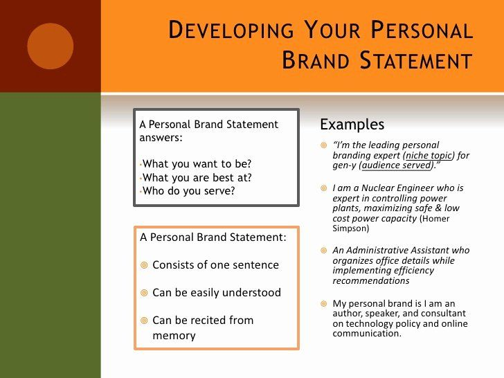 Example Of Personal Branding Statement Inspirational Setting Yourself A Brand Examples Your