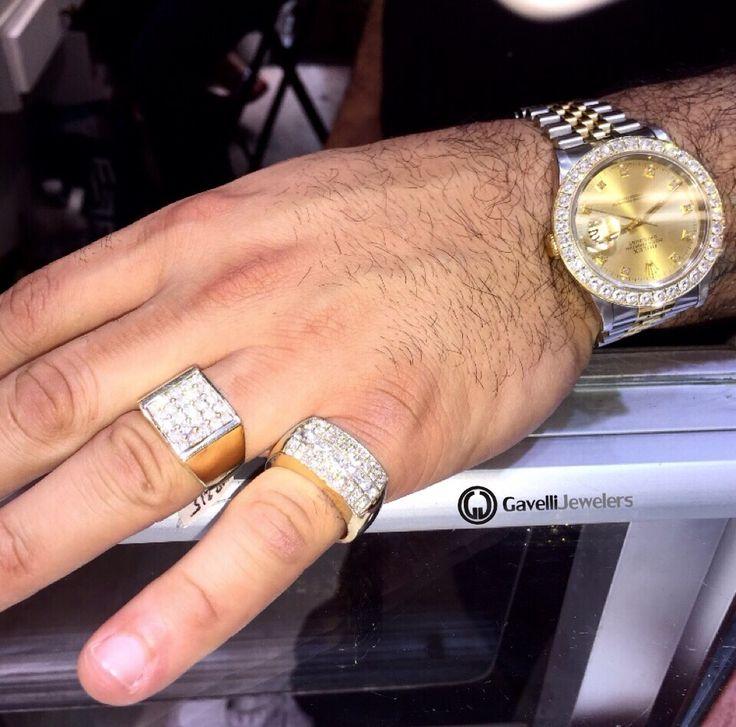 Men's gold diamond pinky rings | hip hop diamond rings | Rolex Datejust