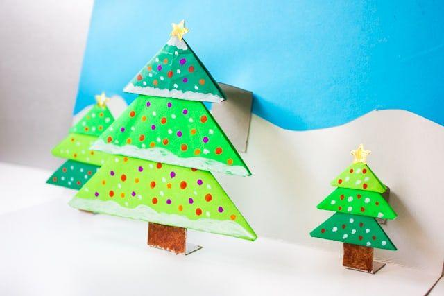 Diy Origami Christmas Tree Pop Up Card Christmas Origami Origami Christmas Tree Christmas Tree Cards