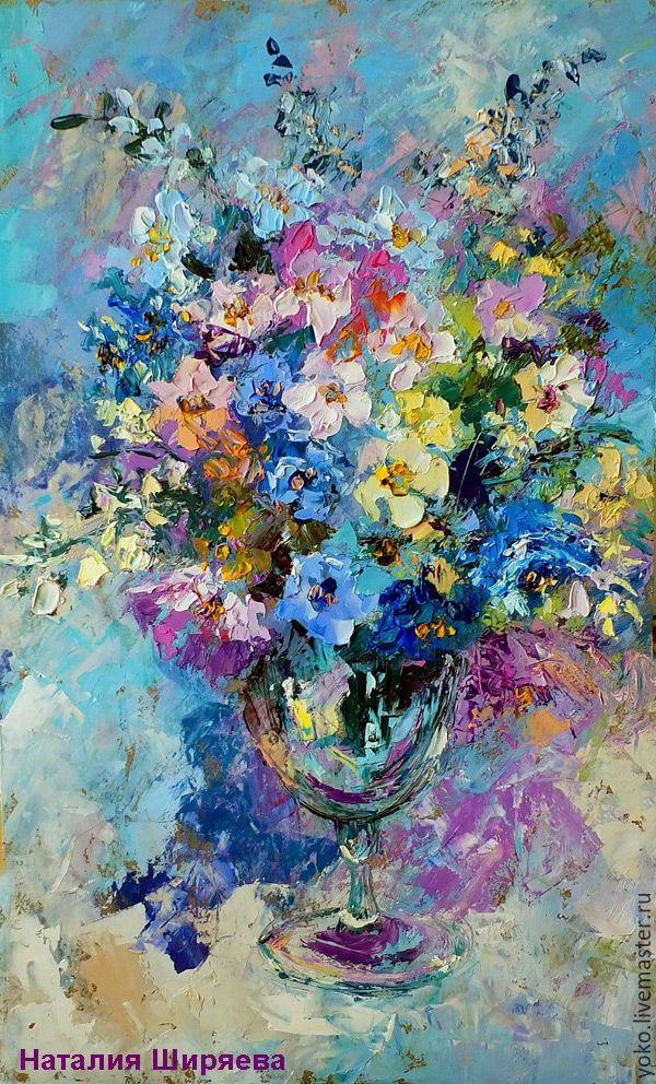 """Oil painting   Купить """"Букет Цветов в Большом Бокале"""" картина маслом - голубой, сиреневый, пастельный, розовый"""