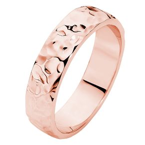 Textured finished rose gold gents wedding ring.