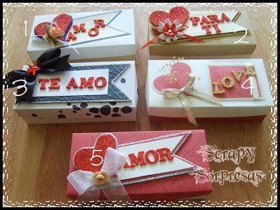 SCRAPY sorpresas: Cajitas con Chocolates, Día de los Enamorados