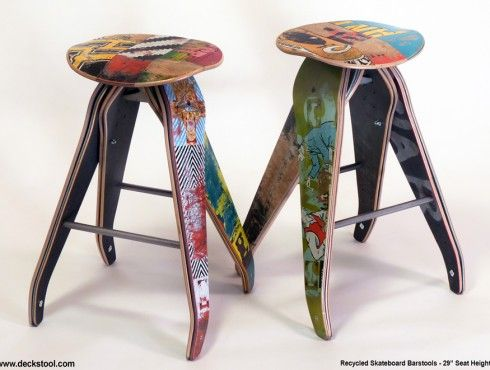 Bar stools from skateboards