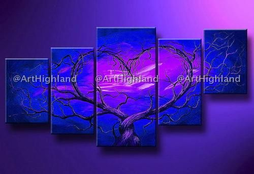 Hand Painted Oil Paintings Painting on Canvas Wall Deco Art Blue Love Tree Heart (blue)