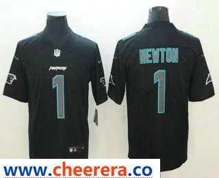 4db13fa1e Men s Carolina Panthers  1 Cam Newton Black 2018 Fashion Impact Black Color  Rush Stitched NFL Nike Limited Jersey