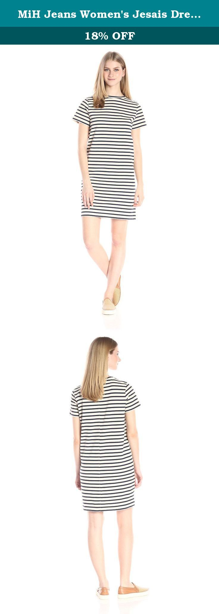MiH Jeans Women's Jesais Dress, Cream/Navy, Small. The jessie dress is MiH Jeans' traditional nautical top transformed into the perfect dress. Featuring a pared-back, streamlined cut with a demure boat neck. The dress hits just above the knee with 3/4 sleeves. The fabric is created in a lightweight version of classic breton jersey in 100 percent cotton with a cream/navy stripe.