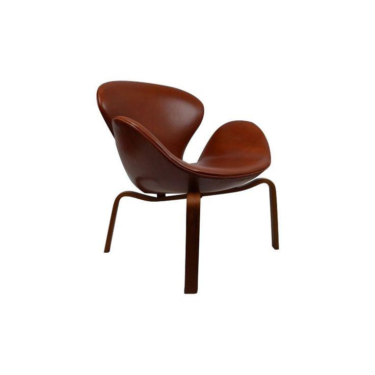fauteuil swan en teck et cuir cognac arne jacobsen