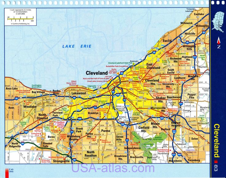 Cleveland map. Detailed road map of Cleveland Ohio. Very clear map of the city with the sights of Cleveland, A0 -