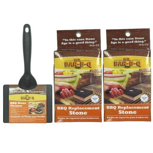 Mr. Bar-B-Q 160181 Stone Cleaning Grill Kit with 3 Extra Stones by Mr. Bar-B-Q. $25.97. The mr; bar-b-q stone cleaning grill kit with comfort grip stone holder and brush attachment with 3 extra grill stones. Includes 3 additional grill stones, no more messy brushes and no more loose bristles falling in your food. Grill stones are the best way to get your grill surface as clean as possible and the comfort grip handle makes cleaning up a breeze. The Mr. Bar-B-Q ston...