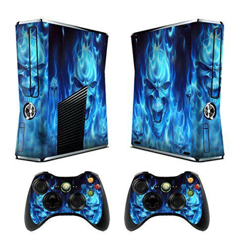 Jeux Xbox 360 Peaux Xbox 360 Vinyle Autocollants Console Xbox 360 + Deux Décalcomanies Pour les Dualshock Controleurs – Skull of Blue Fire:…
