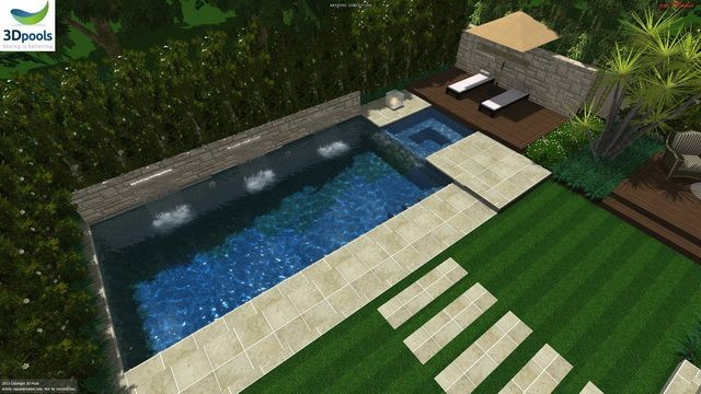 Modern family pool with water feature wall, raised spa & sun deck area. Buy this pool design and many more stylish designs at www.3d-pools.com.au