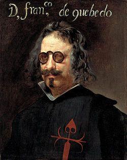 Retrato del gran poeta Francisco de Quevedo y enemigo de Luis de Argote y Gongora