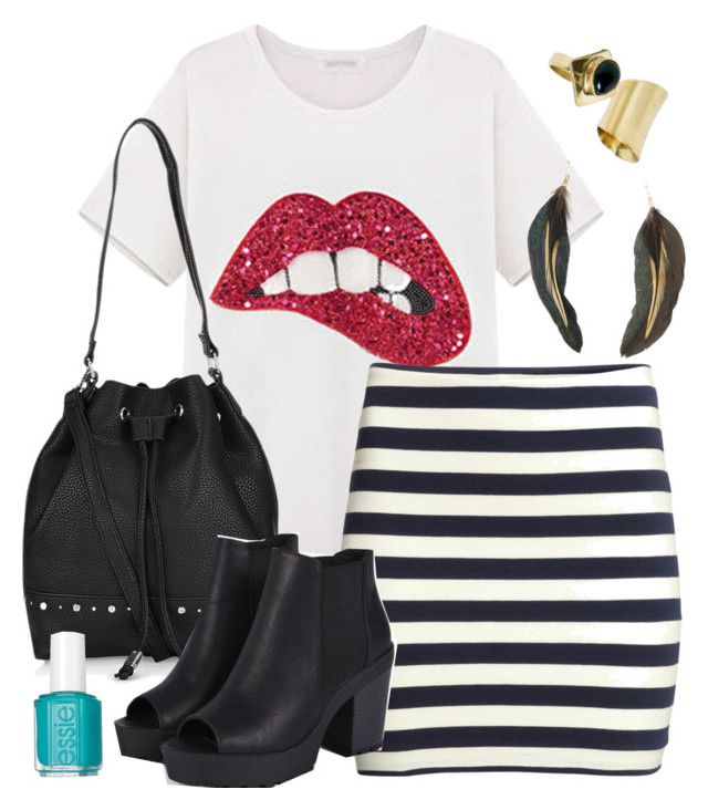 Aria Montgomery inspired outfit with requested shirt by liarsstyle on Polyvore featuring H&M, Boohoo, MANGO, Essie and ss
