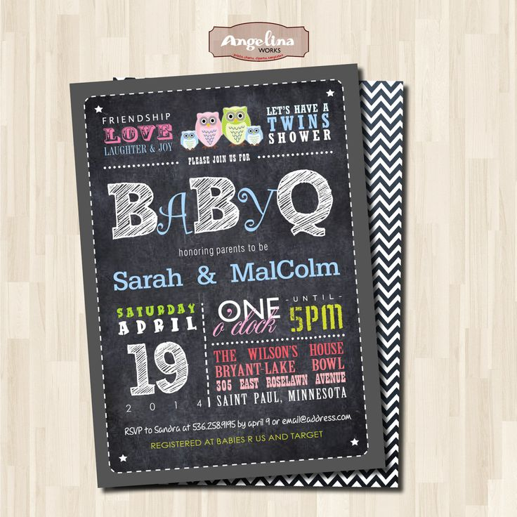 baby shower invitation for twins%0A Baby Q Twins Shower invitation  Barbecue by AngelinaWorks on Etsy