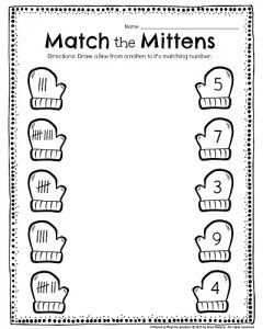 Printables Kindergarden Worksheet 1000 ideas about kindergarten worksheets on pinterest kids tally worksheet match the mittens draw a line from each mitten to its