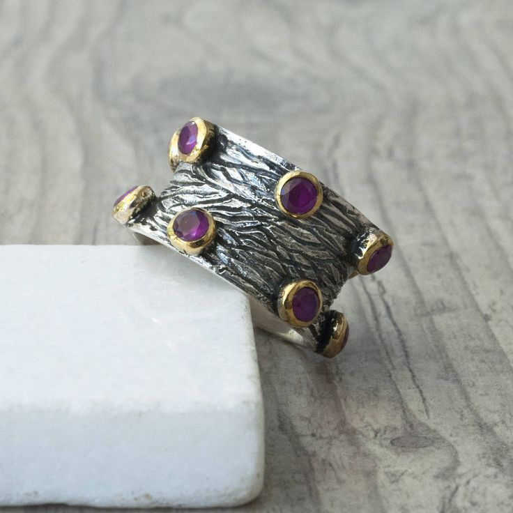 Handmade Wide Band Statement Ruby Ring, Boho Chunky Ring, Ruby Jewelry, July Birthstone Ring