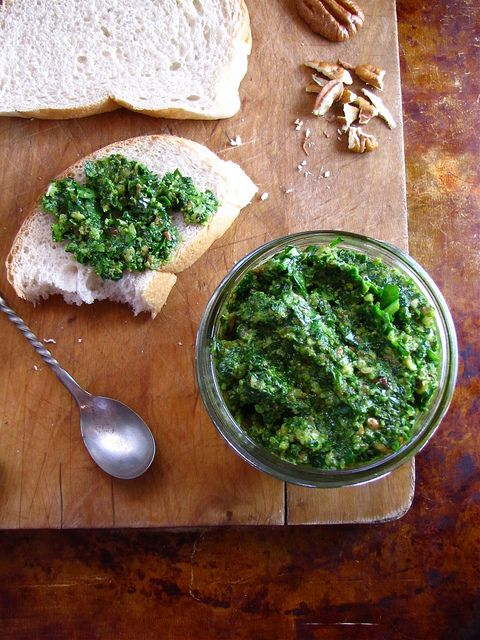 Spinach Pesto made with STAR Garlic Olive Oil: Toast Pecans, Olives Oil, Spinach Recipes, Garlic Breath, Pesto Recipes, Roasted Garlic, Spinach Pesto, Basil Pesto, Summer Recipes