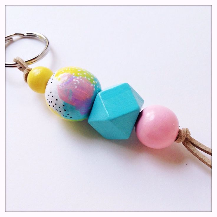 Hand Painted Wood Bead Keychain in Pastel Dreams by TheColorfulNest on Etsy https://www.etsy.com/listing/237841785/hand-painted-wood-bead-keychain-in