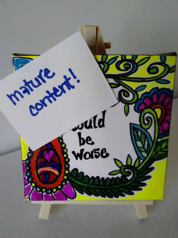 mature content affirmation art mini canvas henna by SeaMySoul