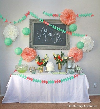 Mint and Coral Baby Shower Ideas-Mint to Be Baby Shower