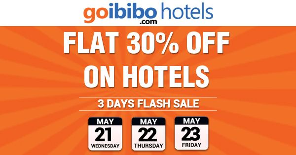3 Days Flash Sale Flat 30% Off on Hotels across India for 3 days Hurry! Book Now: http://bit.ly/1jqFaoc