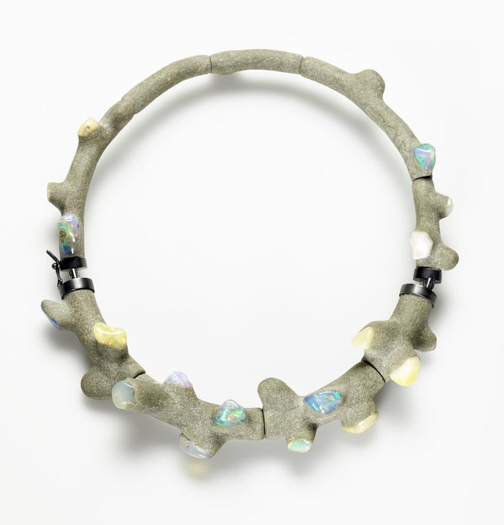 'Coral Cement 3' necklace, opal, wood, silver, cement: Journet, France by Terhi Tolvanen, 2012
