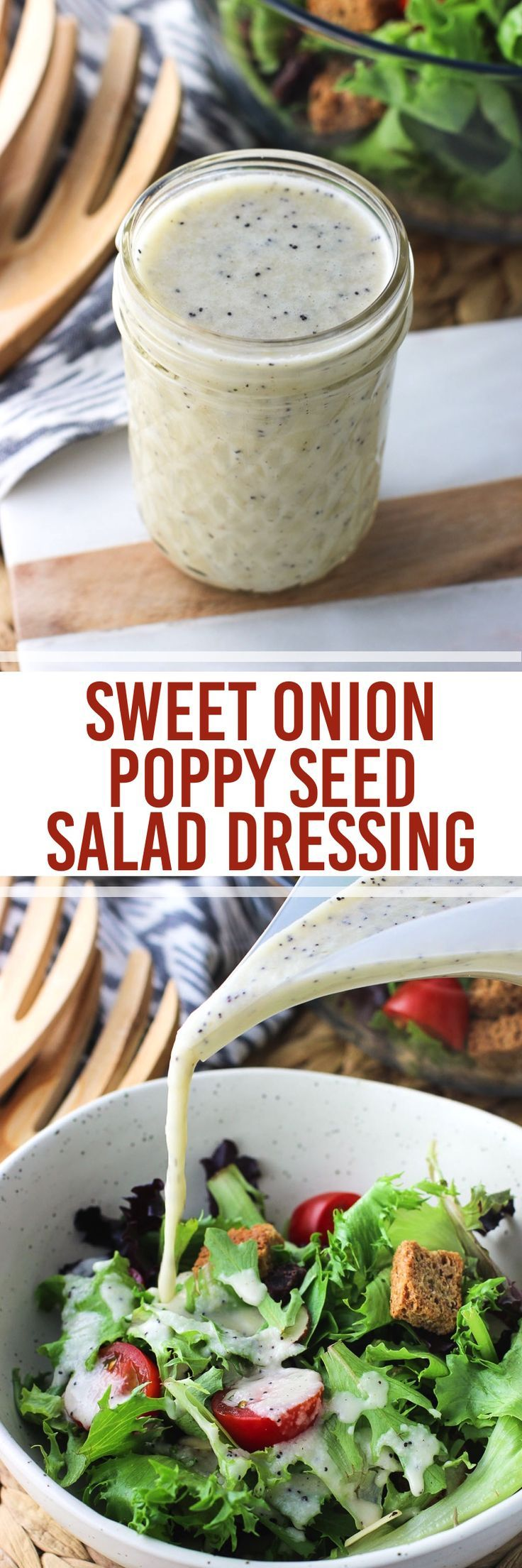 Sweet Onion Poppy Seed Salad Dressing is bursting with flavor and made with healthy oils for a bold and very lightly sweetened salad dressing.