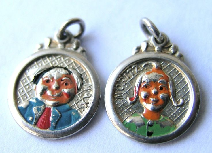 Antique German Silver Enamel Max & Moritz Charm... Wilhelm Busch, $165.00