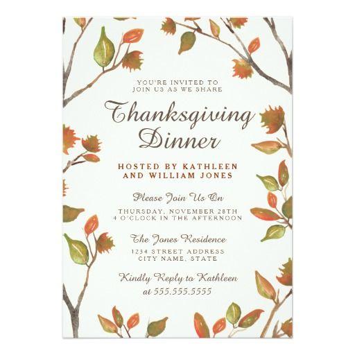 155 best thanksgiving invitations images on pinterest autumn leaves thanksgiving dinner card stopboris Choice Image