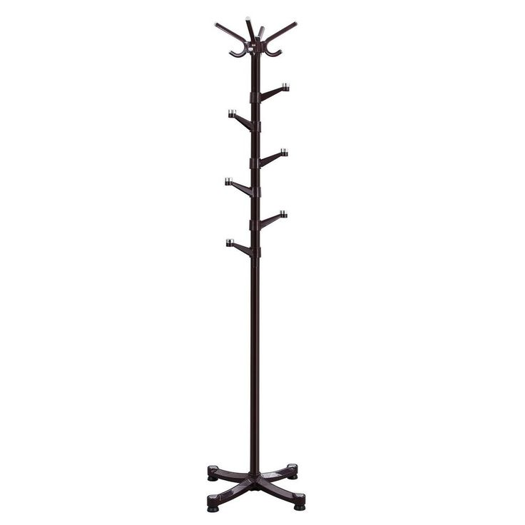 SONGMICS Coat Rack Purse Rack Hall Tree with 14 Rotating Plastic Hooks Espresso #SONGMICS