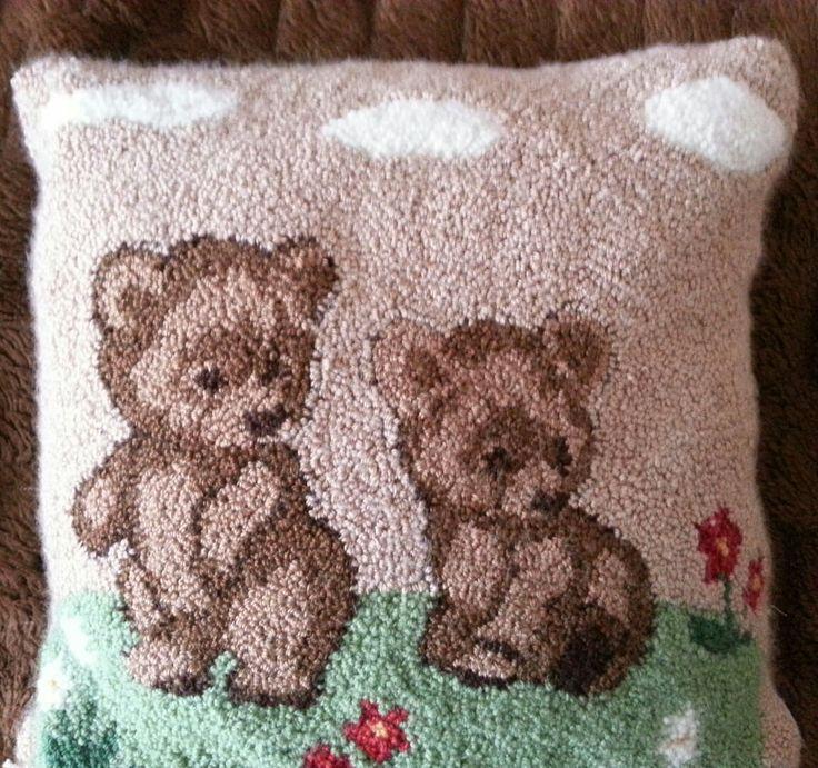 Teddy Bears  - Punchneedle Cushion  Rug Hooking