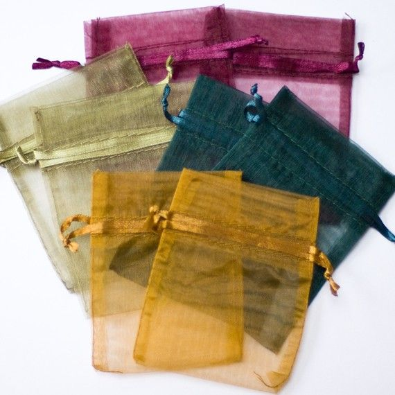 100 Organza Bags, 3x4 inch, multi color, Burgundy, Forest Green, Gold, and Old Willow
