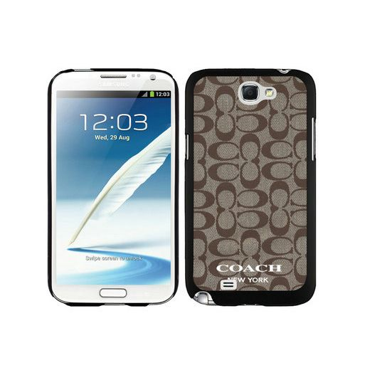 Coach Logo Signature Beige Samsung Note 2 Cases DTD