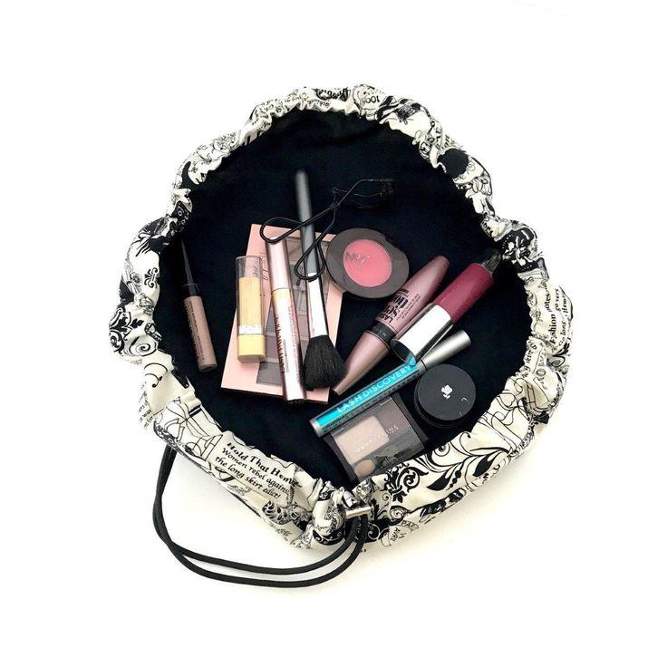 Black and white washable drawstring makeup bag cinch