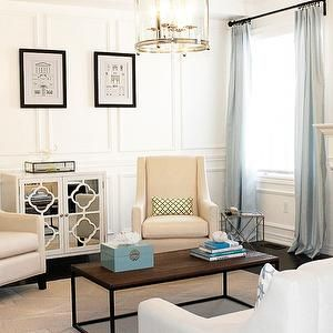 Full Wall Wainscoting, Transitional, living room, Behr Custom Antique White, AM Dolce Vita