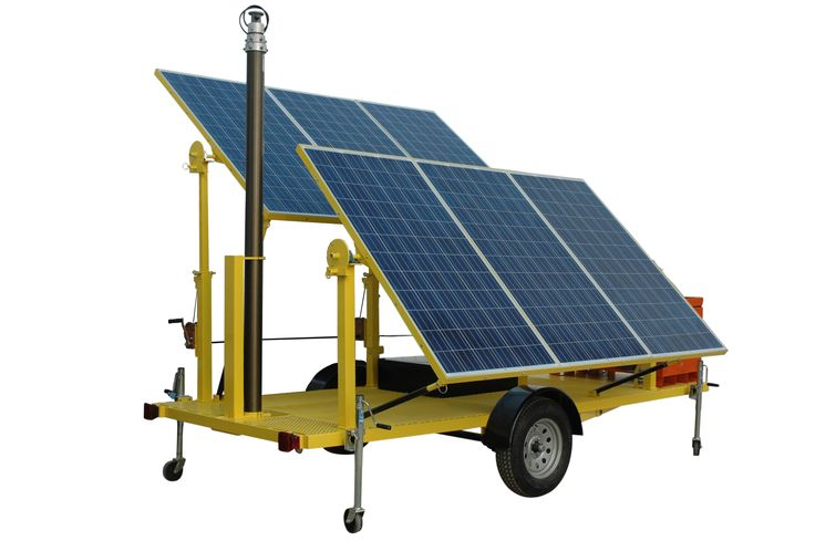 1.8KW Solar Powered Security Light Tower Equipped with Four 160 Watt LED Light Fixtures