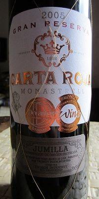 Carta Roja Monastrell Jumilla Gran Reserva 2005