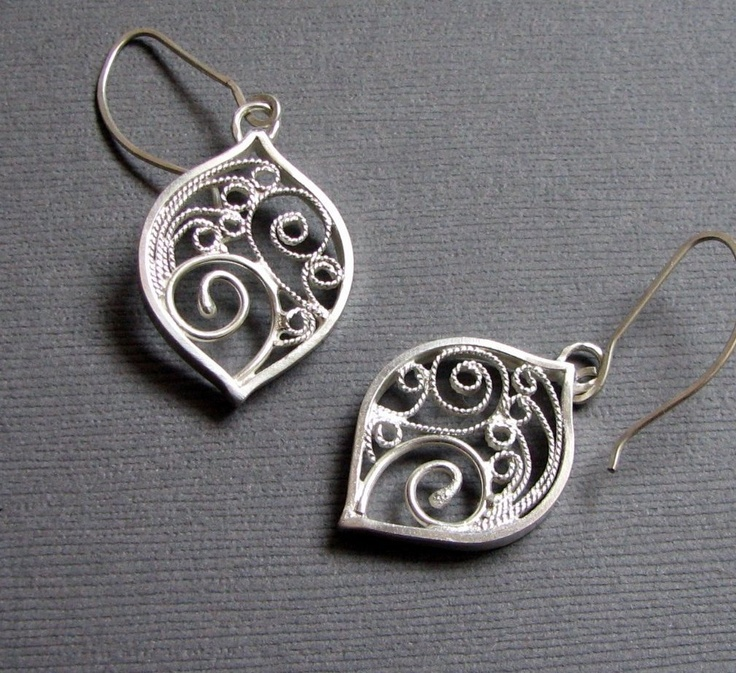 Silver Filigree Earrings, via Etsy.