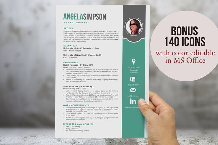 2 in 1 stylish Word photo resume by Inkpower on @creativemarket - stylish resume templates