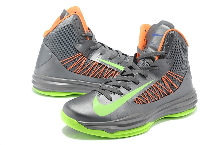 Nike Lunar Hyperdunk X 2012 Basketball Shoes Sliver Green Orange